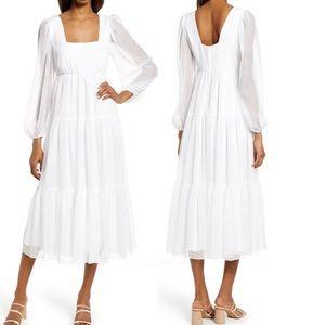 NEW Nordstrom White Chiffon Midi Dress Chelsea28
